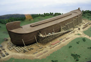 Noah's Ark and Flood with animals enterring